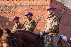 Participants celebrating National Independence Day an Republic of Poland - is a public holiday. KRAKOW, POLAND - NOV 11, 2014: Unidentified participants Royalty Free Stock Image