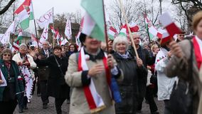 Participants celebrating National Independence Day an Republic of Poland - is a public holiday stock video