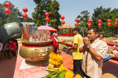 Participants during the celebration Chinese New Year in Koh Chang Chinese temple. Stock Photography