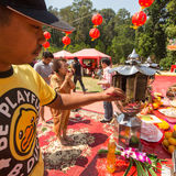 Participants during the celebration Chinese New Year in Koh Chang Chinese temple Stock Image