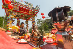 Participants during the celebration Chinese New Year in Koh Chang Chinese temple Royalty Free Stock Photos