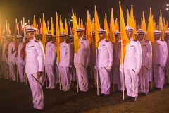 Participants in the celebration of the 87th birthday of Thailand King Bhumibol Adulyadej Royalty Free Stock Images