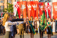 Participants of ceremony is the vow of first classes of the Jan III Sobieski High School Stock Images