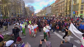 Participants of the Chinese new year parade in Barcelona stock video