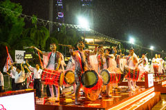 Participants Chingay Parade. Parade is ranked as largest street festival in Asia. SINGAPORE - JAN 19, 2016: Unidentified participants Chingay Parade. Parade is Royalty Free Stock Photo