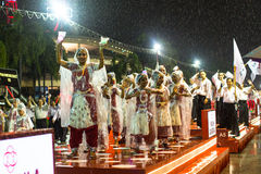 Participants Chingay Parade. Parade is ranked as largest street festival in Asia. SINGAPORE - JAN 19, 2016: Unidentified participants Chingay Parade. Parade is Stock Images