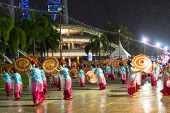 Participants Chingay Parade. Parade is ranked as largest street festival in Asia. SINGAPORE - JAN 19, 2016: Unidentified participants Chingay Parade. Parade is Stock Photography