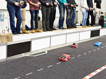 Participants in competition for racing radio controlled cars. Participants in the competition for racing radio-controlled cars stock images