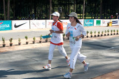 Participants completing the 5km marathon Stock Photography