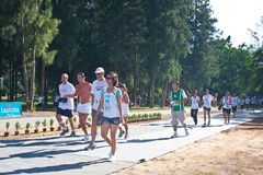 Participants completing the marathon Stock Images