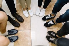 Legs of business conference participants. stock image