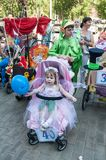 Participants of the contest of babyish strollers Stock Images