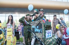 Participants of the contest of babyish strollers Stock Image