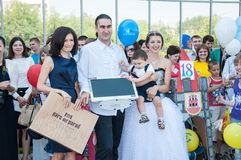 Participants of the contest of babyish strollers Stock Photos