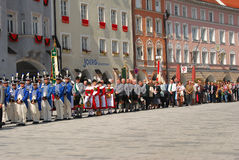 Participants in the Corpus Christi procession. InNeuötting Germany stand during the services Stock Photo