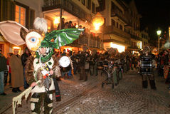 Participants in costumes perform a street procession at the carn Royalty Free Stock Image