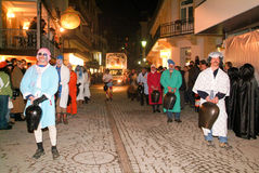Participants in costumes perform a street procession at the carn Royalty Free Stock Photography