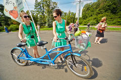 Participants of cycle parade Lady on Bicycle Royalty Free Stock Image