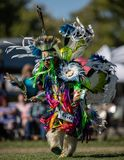 Pow Wow Dancer. Participants dancing Native American style at the Stillwater Pow Wow in Anderson, California stock image