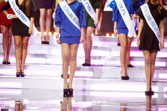 Participants de la beauté russe - concours 2011 sur l'étape Image stock