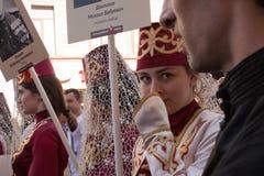 Participants de régiment immortel - action publique internationale, qui a lieu en Russie et quelques pays de près Photographie stock libre de droits