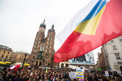 Participants during demonstration on Main Square, in support of Independence Ukrainein Royalty Free Stock Image