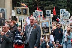 Participants du régiment immortel de marche dans Pyatigorsk, Russie Photo stock