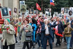 Participants du régiment immortel de marche dans Pyatigorsk, Russie Image stock