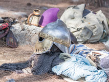 Participants equipment in the reconstruction of Horns of Hattin battle in 1187 near Tiberias, Israel. Tiberias, Israel, July 01, 2017 : Participants equipment in Stock Image