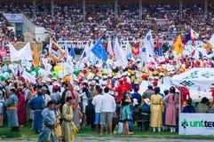 Participants et spectateurs, cérémonie d'ouverture de Nadaam Photo libre de droits
