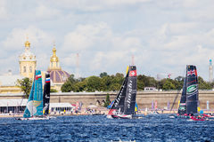 Participants of Extreme Sailing Series Act 5 catamarans race Stock Images