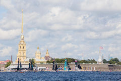 Participants of Extreme Sailing Series Act 5 catamarans race in St. Petersburg, Russia Royalty Free Stock Photography