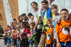 Participants of Family Climbing Competitions at opening ceremony Royalty Free Stock Image