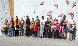 Participants of Family Climbing Competitions at opening ceremony Royalty Free Stock Photo