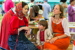 Participants of the Festival of folk culture Russian Tea. Festival held annually in Grishino ecovillage since 2012. GRISHINO, RUSSIA - JUL 30, 2016: Unidentified Royalty Free Stock Photography