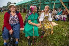 Participants of the Festival of folk culture Russian Tea. Festival held annually in Grishino ecovillage since 2012. GRISHINO, RUSSIA - JUL 30, 2016: Unidentified Royalty Free Stock Photos