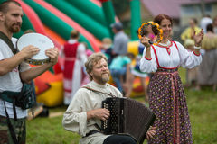 Participants of the Festival of folk culture Russian Tea. Festival held annually in Grishino ecovillage since 2012. GRISHINO, RUSSIA - JUL 30, 2016: Unidentified Royalty Free Stock Photo