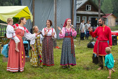 Participants of the Festival of folk culture Russian Tea. Festival held annually in Grishino ecovillage since 2012. GRISHINO, RUSSIA - JUL 30, 2016: Unidentified Stock Photo