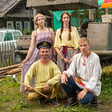 Participants of the Festival of folk culture Russian Tea. Festival held annually in Grishino ecovillage since 2012. GRISHINO, RUSSIA - JUL 30, 2016: Unidentified Stock Image