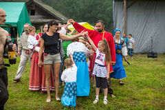 Participants of the Festival of folk culture Russian Tea. Festival held annually in Grishino ecovillage since 2012. GRISHINO, RUSSIA - JUL 30, 2016 Royalty Free Stock Images