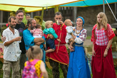 Participants of the Festival of folk culture Russian Tea. Festival held annually in Grishino ecovillage since 2012. Royalty Free Stock Photos