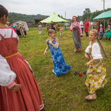 Participants of the Festival of folk culture Russian Tea. Festival held annually in Grishino ecovillage since 2012. Royalty Free Stock Photography