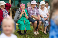 Participants of the Festival of folk culture Russian Tea. Festival held annually in Grishino ecovillage since 2012. GRISHINO, RUSSIA - JUL 30, 2016 Stock Photography