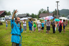 Participants of the Festival of folk culture Russian Tea. Festival held annually in Grishino ecovillage since 2012. Royalty Free Stock Image