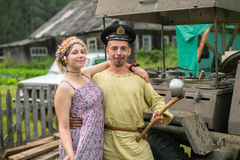 Participants of the Festival of folk culture Russian Tea. Festival held annually in Grishino ecovillage since 2012. GRISHINO, RUSSIA - JUL 30, 2016 Royalty Free Stock Photo