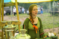 Participants of the Festival of folk culture Russian Tea. Festival held annually in Grishino ecovillage since 2012. GRISHINO, RUSSIA - JUL 30, 2016 Stock Photos