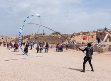 Participants of festival show a show with kites Stock Photography