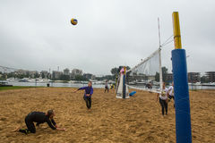 Participants of the Final of the championship of Petersburg on beach volleyball on Elagin island. Royalty Free Stock Photography