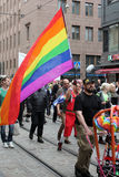 Participants of the gay parade carry banners and air balloons Stock Image