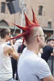 Participants at gay pride 2012 of Bologna. BOLOGNA - JUNE 9: 30,000 people took part in the Bologna Gay Pride parade to support gay rights, on June 09, 2012 in royalty free stock photo
